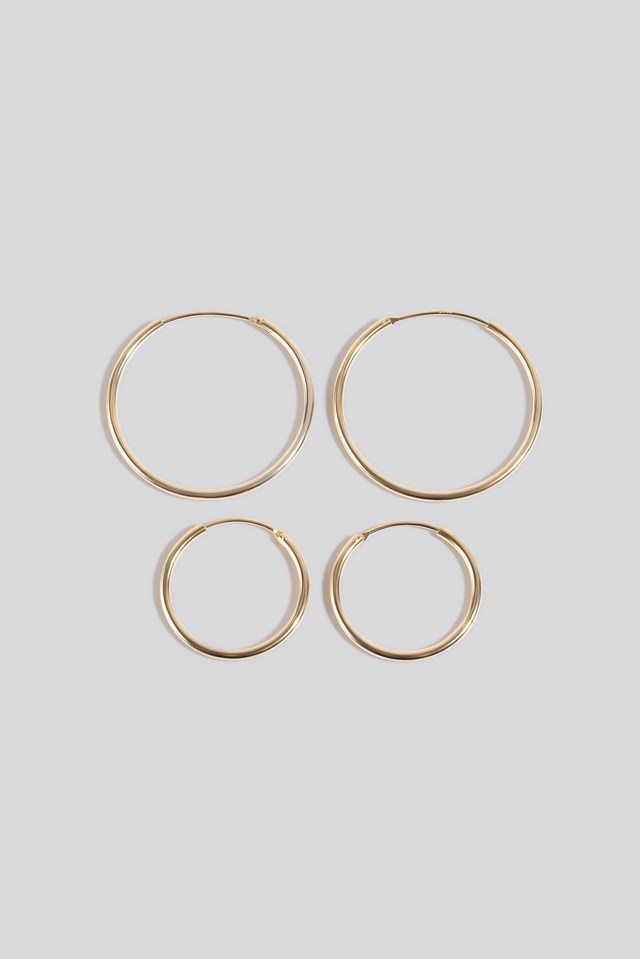 Gold Plated Slim Hoops NA-KD Accessories