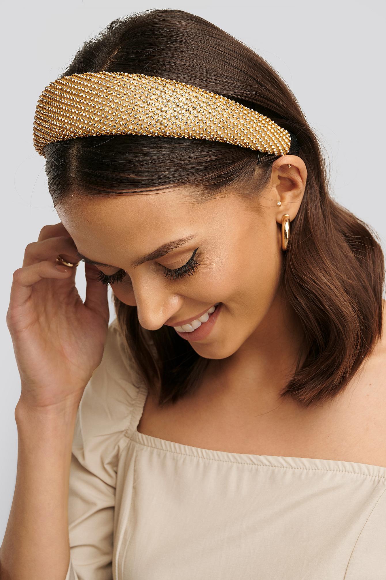 Na-kd Gold Rhinestone Hair Hoop Gold