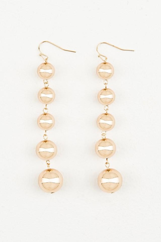 Golden Sphere Strings Earrings Gold