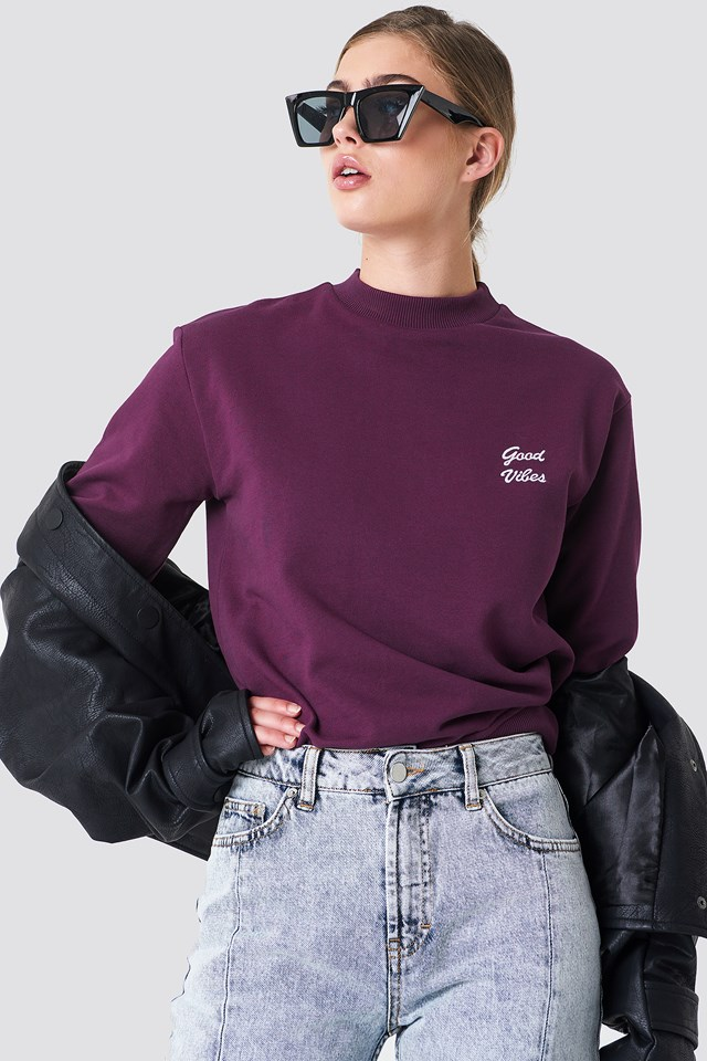 Good Vibes Sweatshirt Bordeaux