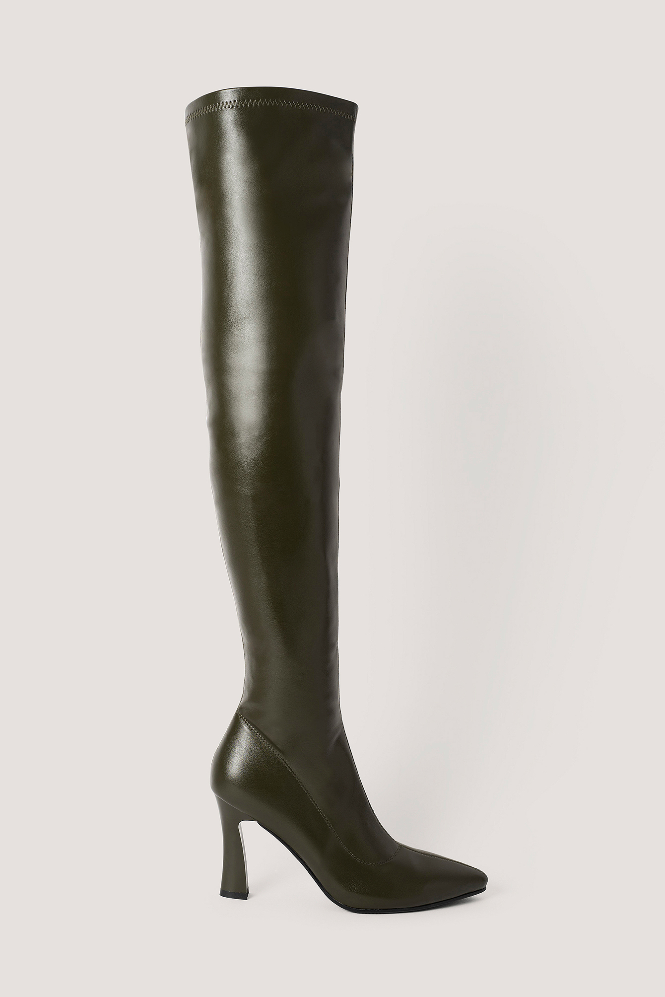 na-kd shoes -  Graphic Heel Overknee Boots - Green