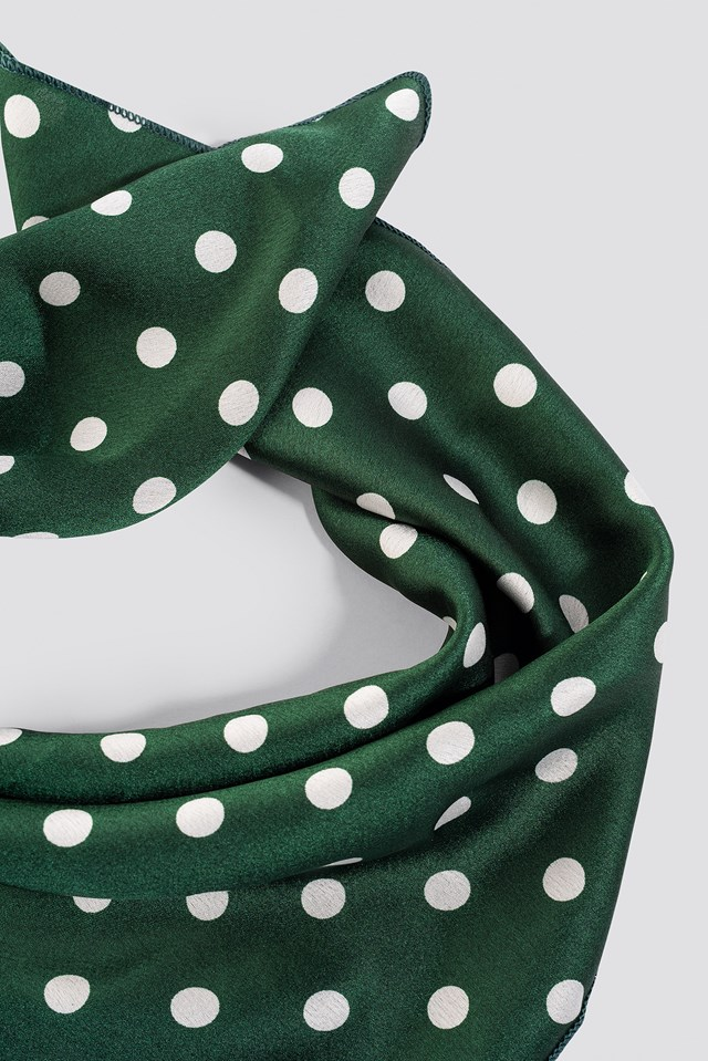 Green Dotted Satin Scarf Green