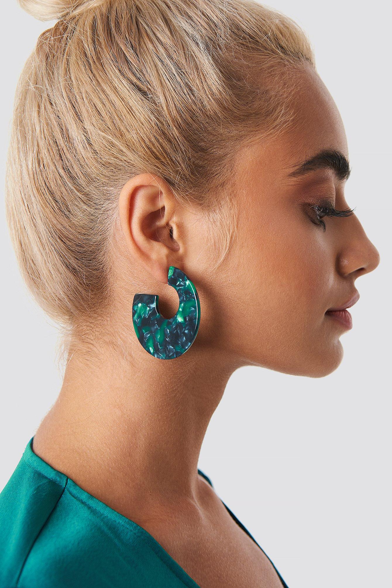 na-kd accessories -  Green Resin Look Earrings - Green