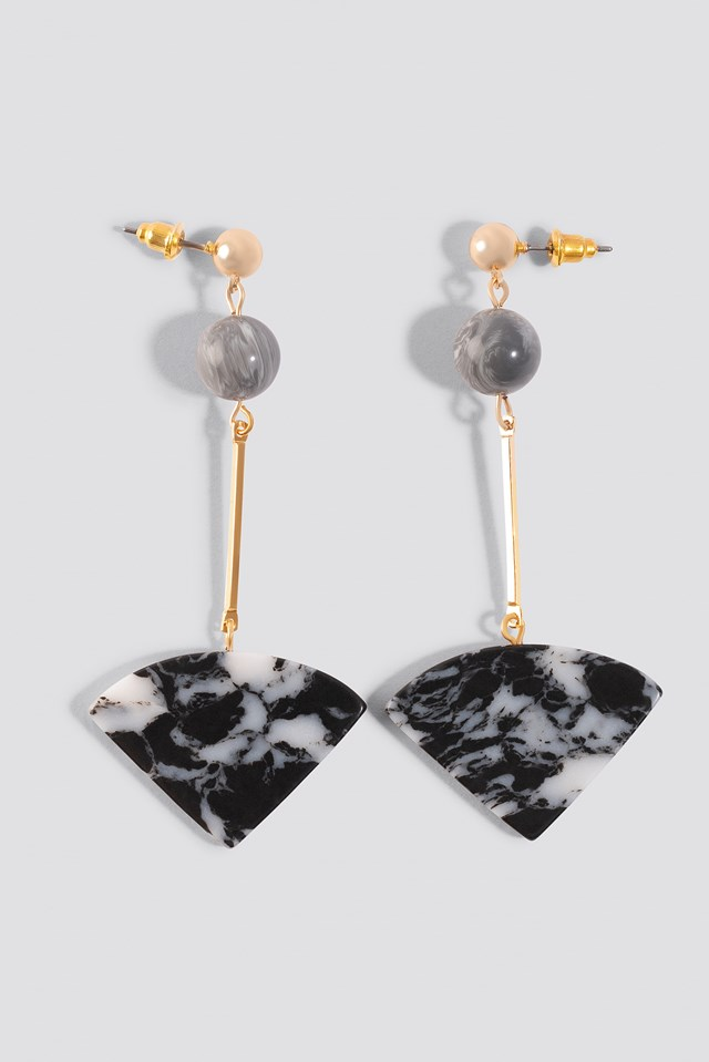 Grey Marble Earrings Stone