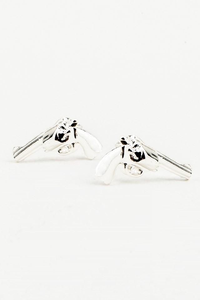 Gun Earrings Silver