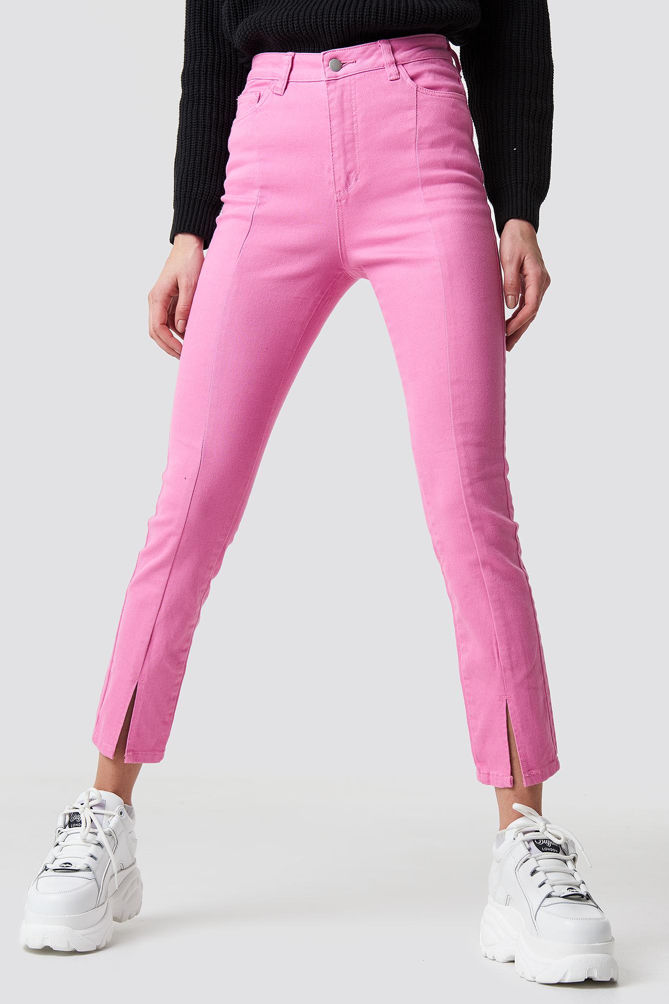 Highwaist Skinny Front Slit Jeans NA-KD.COM