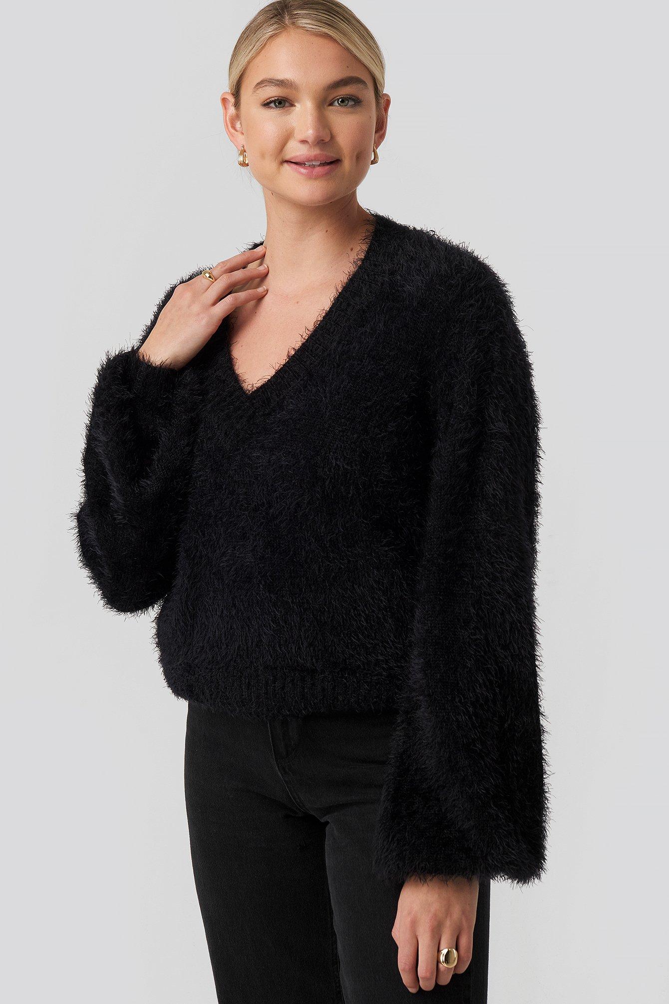 na-kd -  Hairy Deep V-neck Sweater - Black