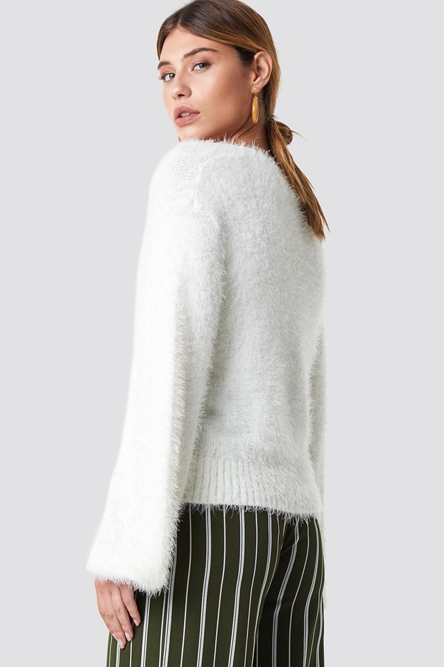 Hairy Deep V-neck Sweater White