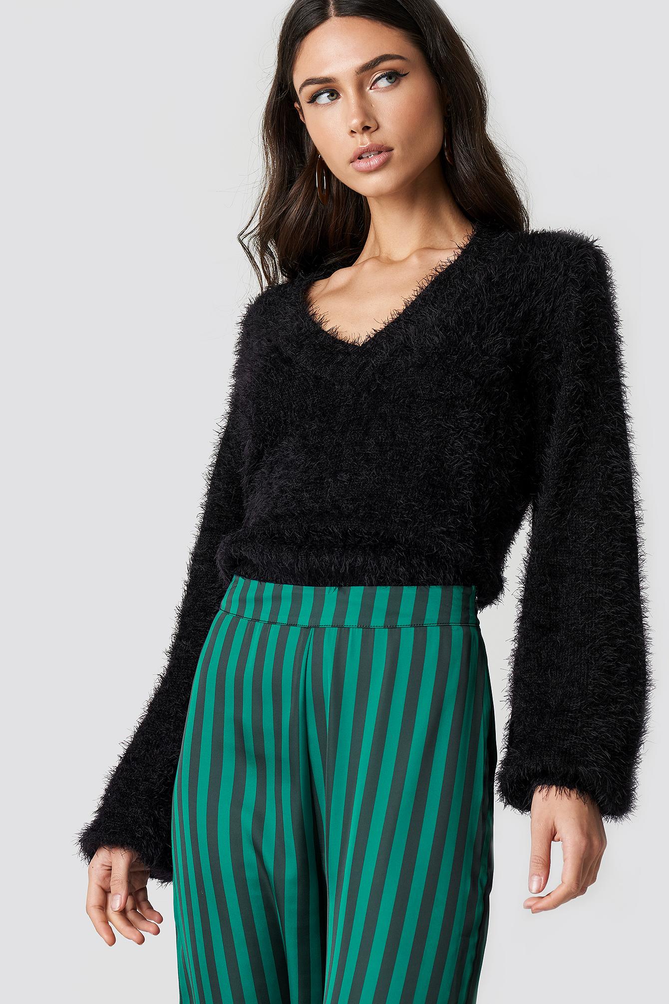 Hairy Deep V-neck Sweater NA-KD.COM