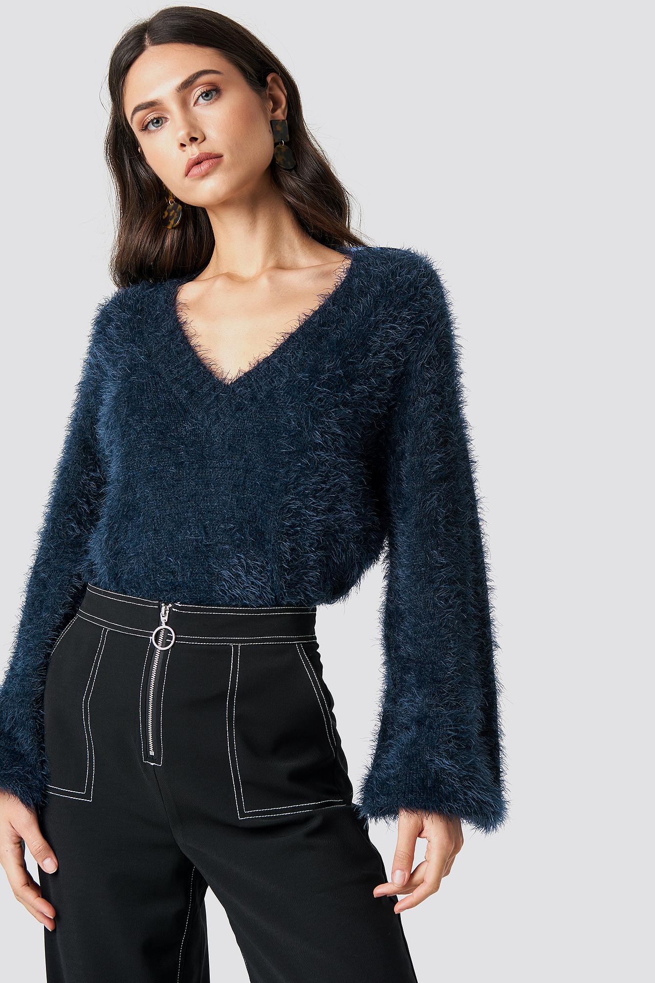 na-kd -  Hairy Deep V-neck Sweater - Navy