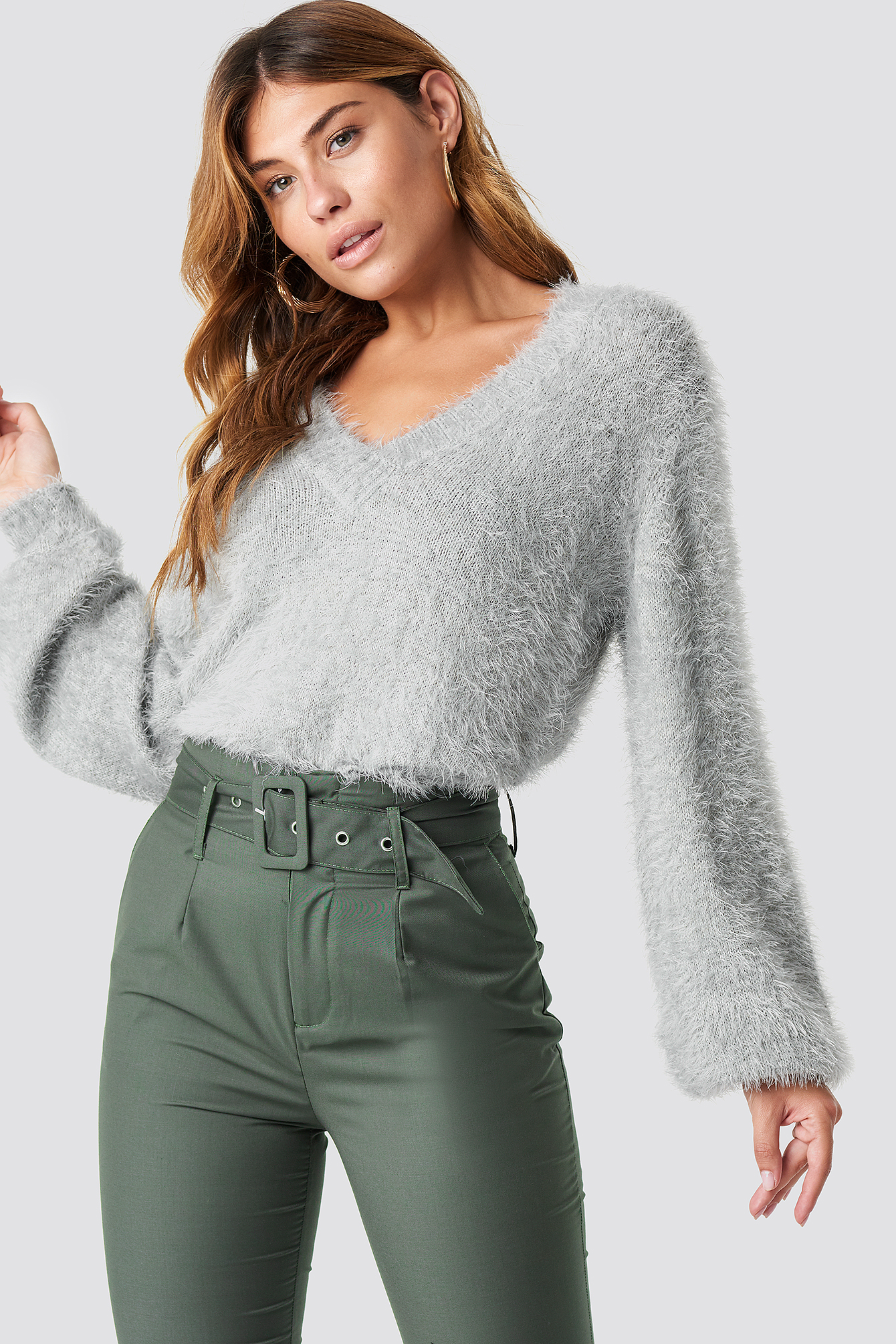 na-kd -  Hairy Deep V-neck Sweater - Grey
