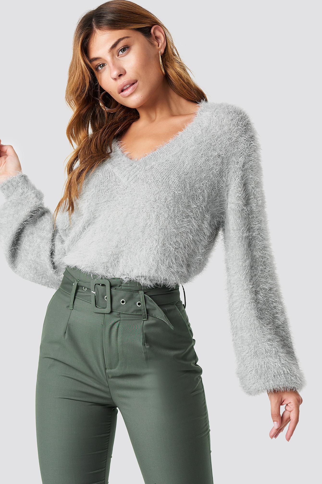 na-kd -  Hairy Deep V-neck Sweater - Grey
