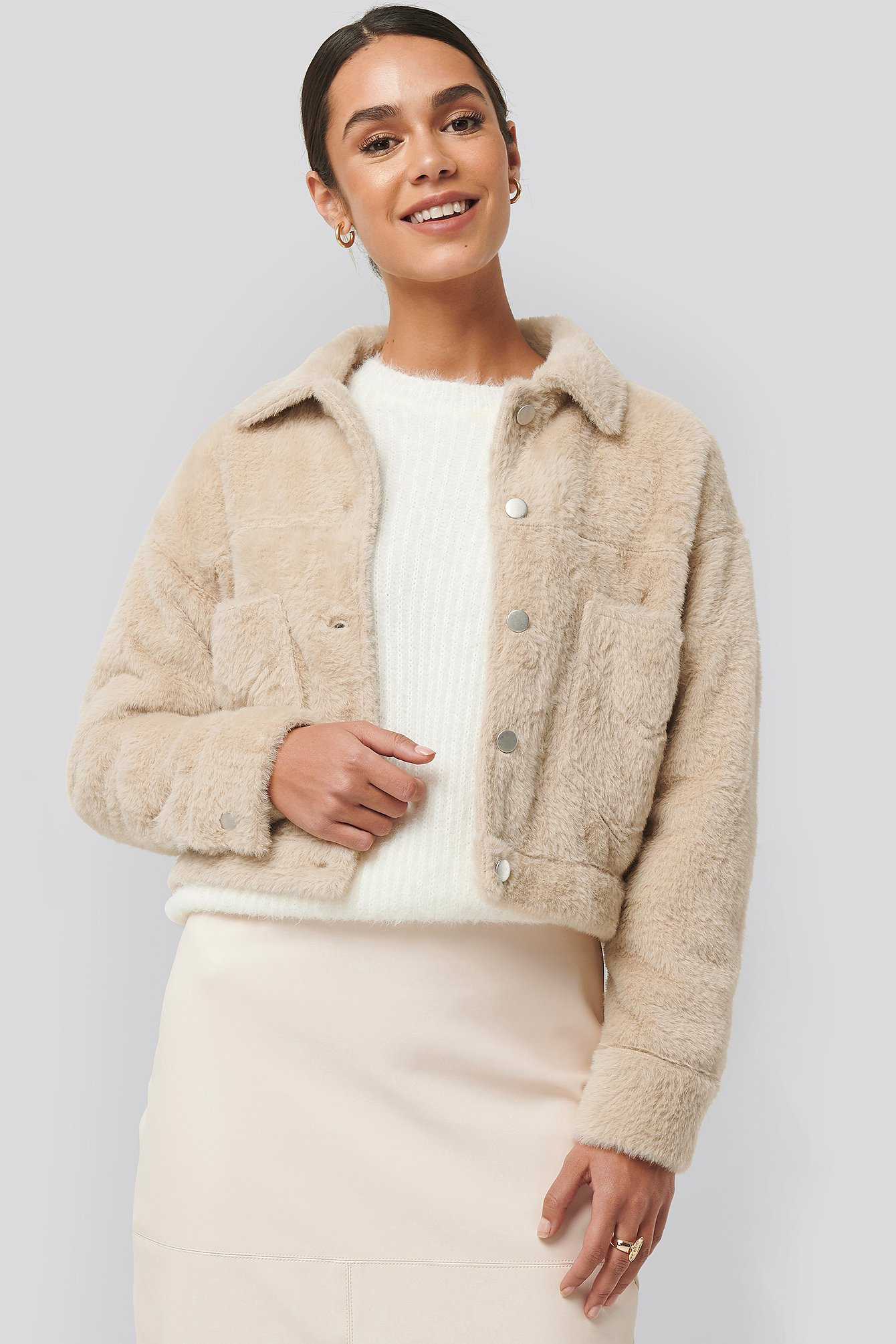 na-kd -  Hairy Faux Fur Jacket - Beige