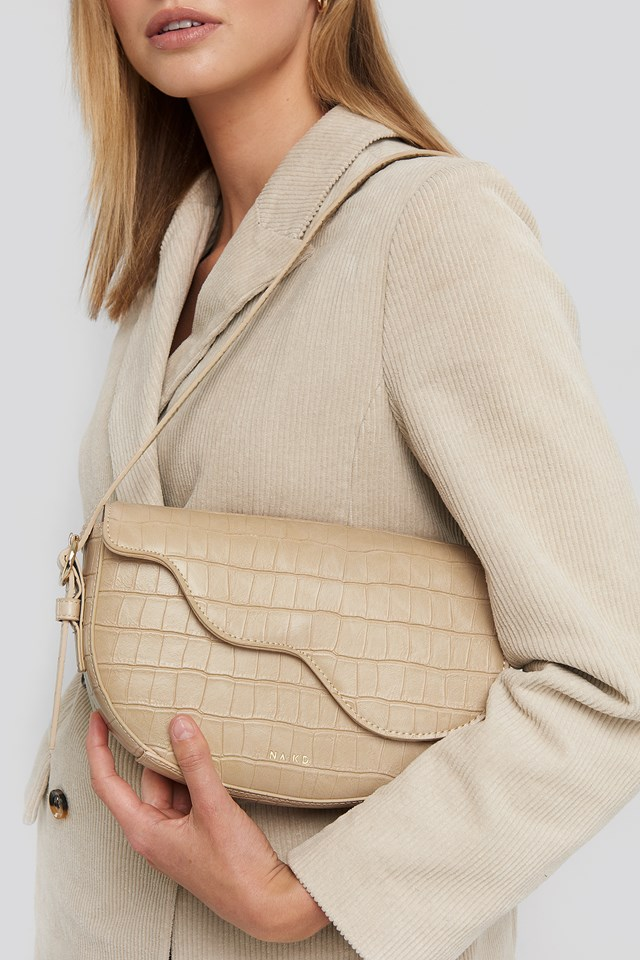 Half Moon Saddle Flap Shoulder Bag Nude Croco