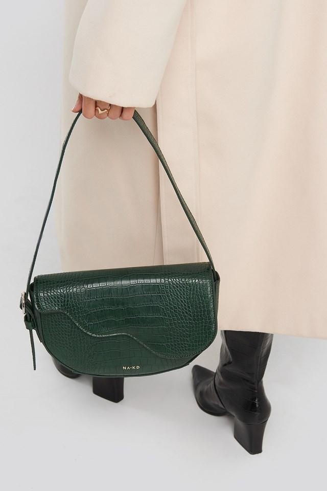 Half Moon Saddle Flap Shoulder Bag Green Croco