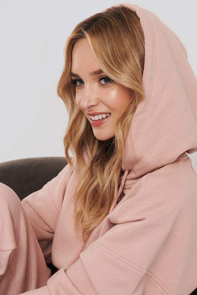 Half Sleeve Cropped Hoodie Pink
