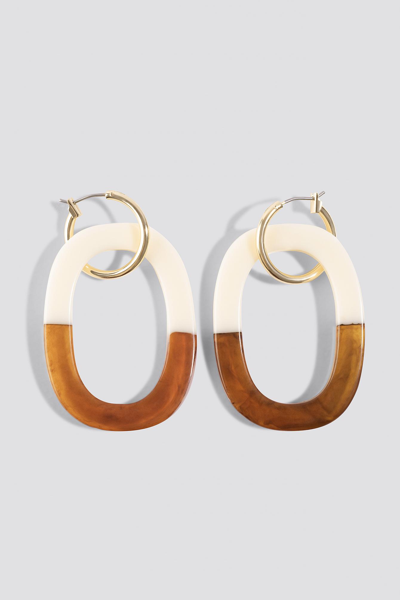 na-kd accessories -  Half Tortoise Hoop Earrings - Multicolor