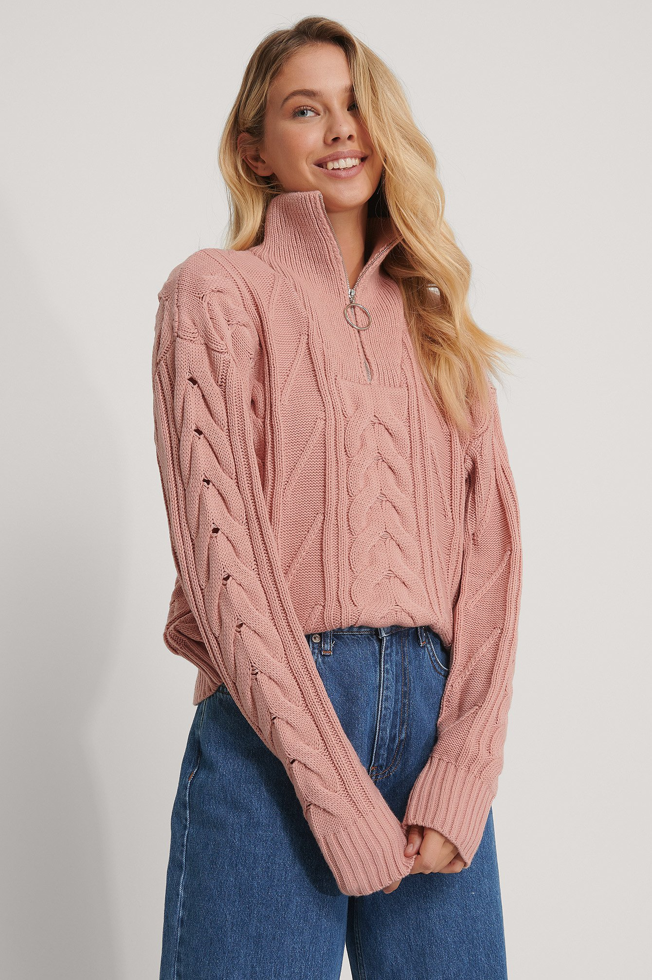 Dusty Pink Half Zip Cable Knit Sweater