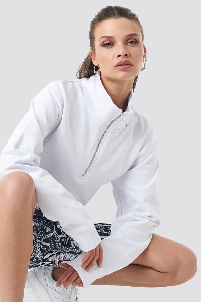 Half Zip Pullover White