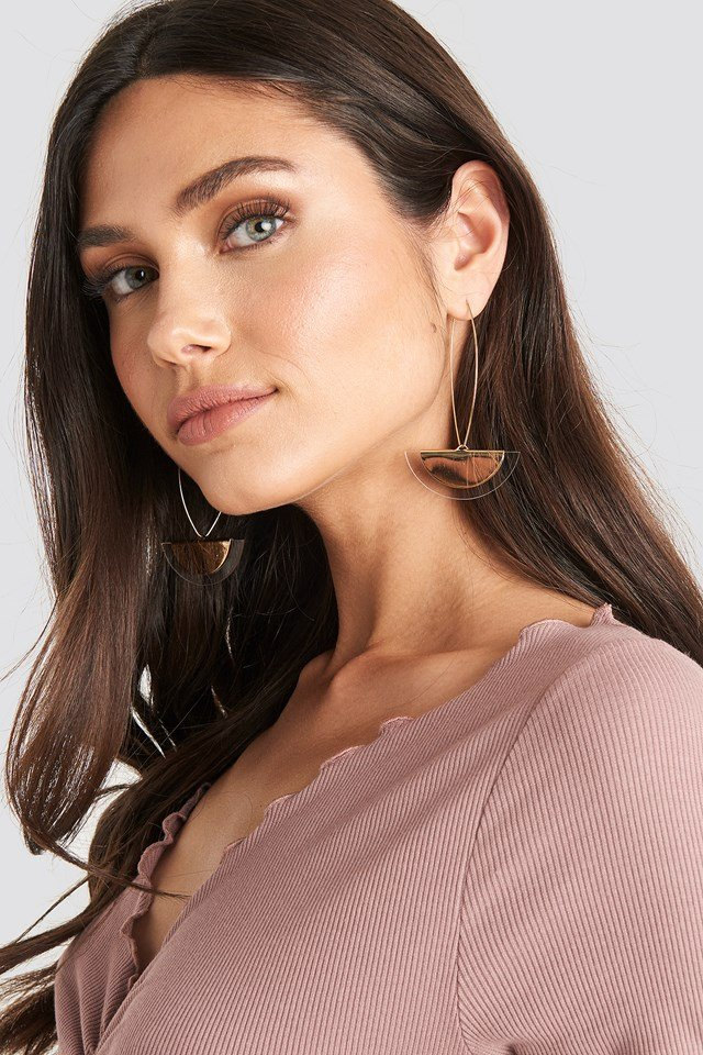 Halfmoon Drop Earrings Gold