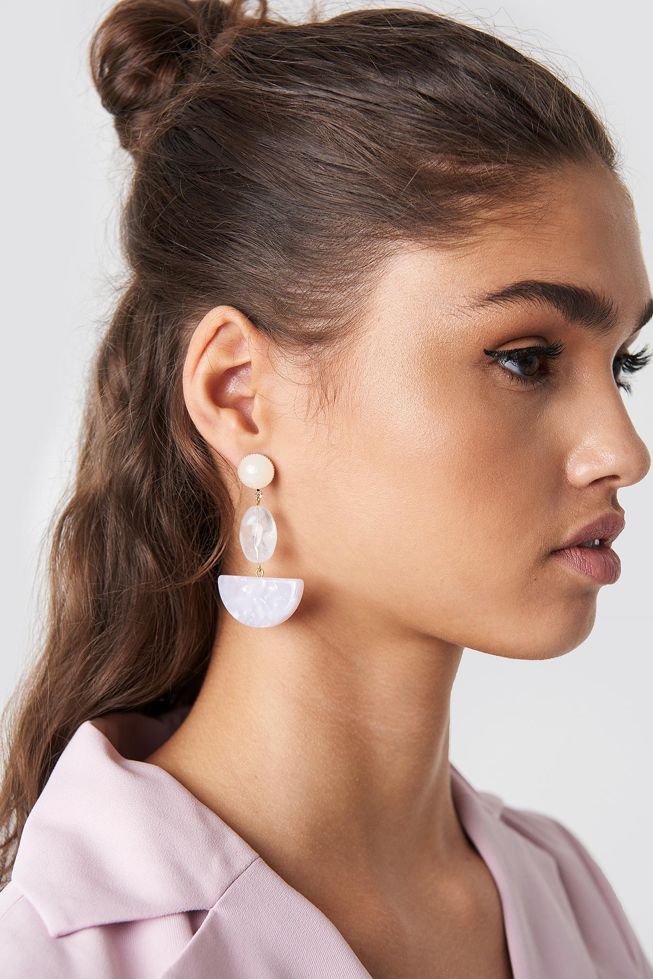 na-kd accessories -  Halfmoon Stone Earrings - Purple,Offwhite