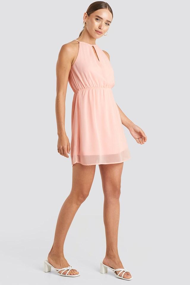 Halterneck Chiffon Mini Dress Rose Quartz