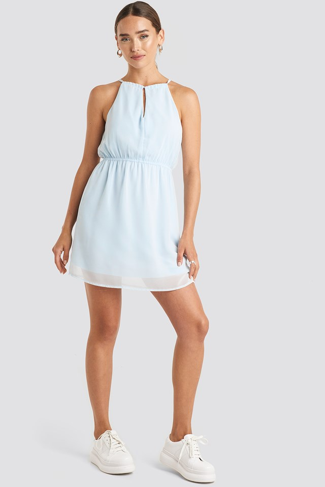 Halterneck Chiffon Mini Dress Pale Blue