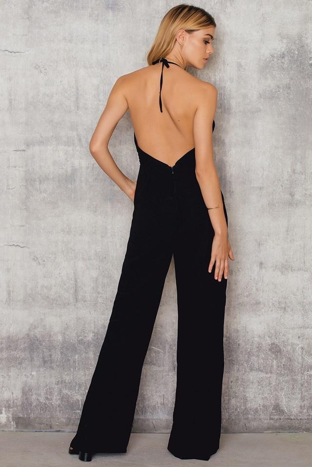 Halterneck Cut Out Front Jumpsuit Black