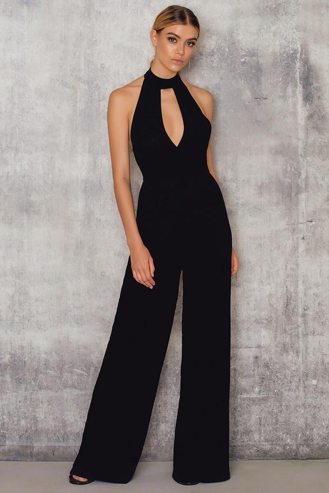 Halterneck Cut Out Jumpsuit Black