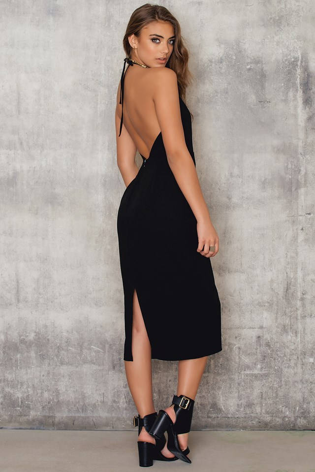 Halterneck Cut Out Knee Dress Black