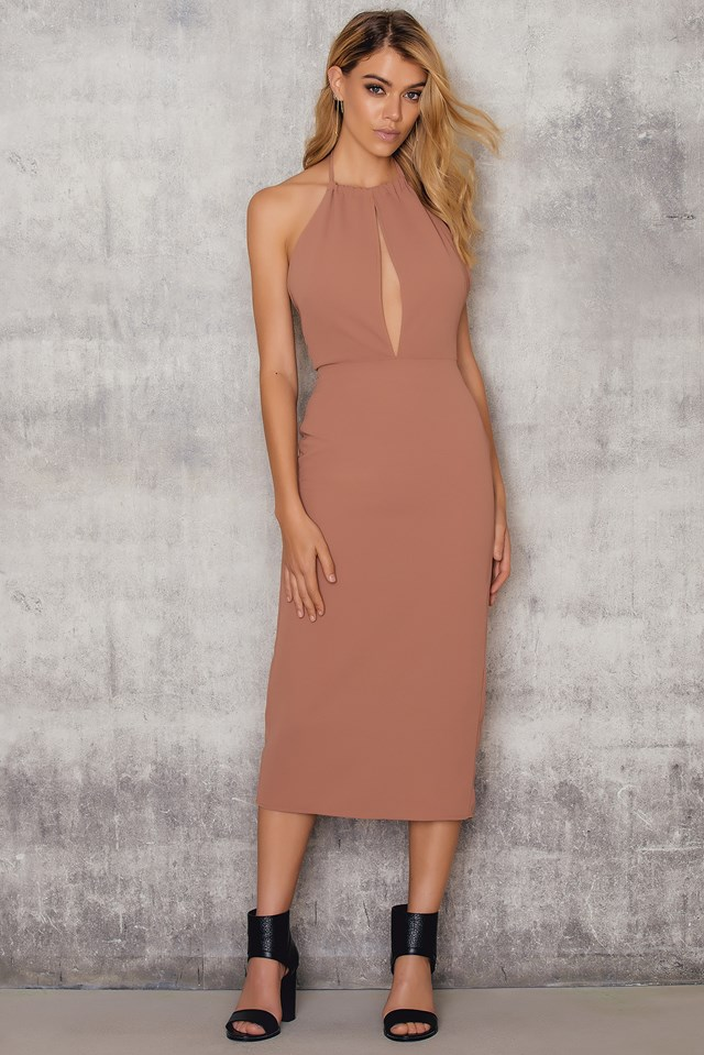Halterneck Cut Out Knee Dress Dusty Pink