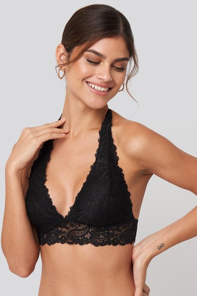 Halterneck Flirty Lace Bralette Black