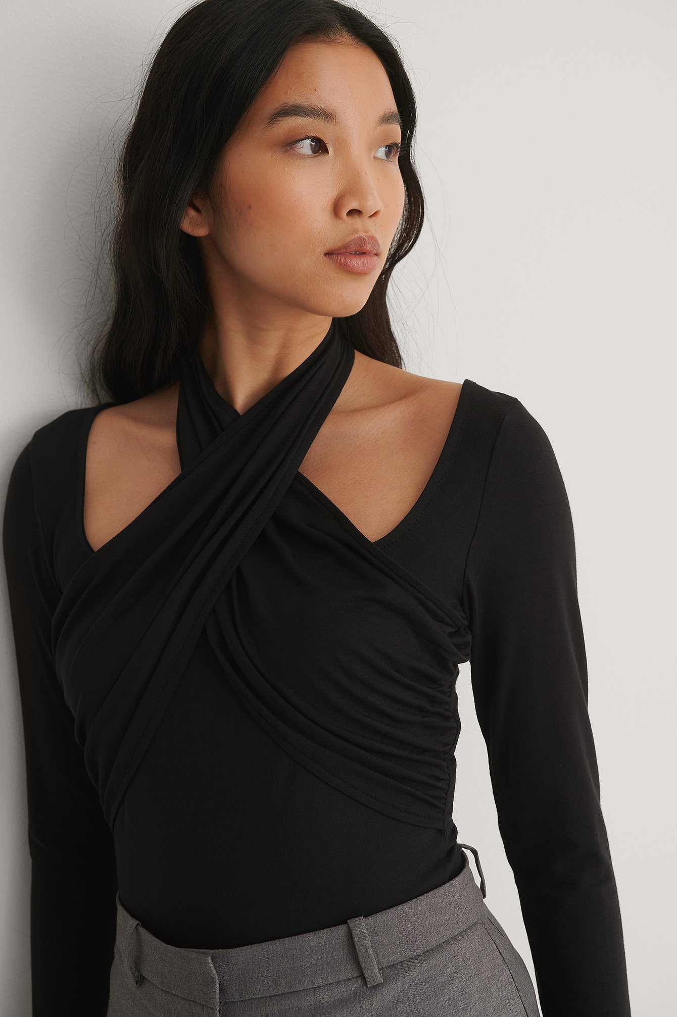 Black Halterneck Jersey Top