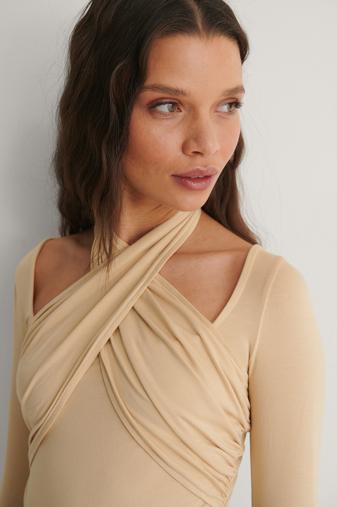 Light Beige Halterneck Jersey Top