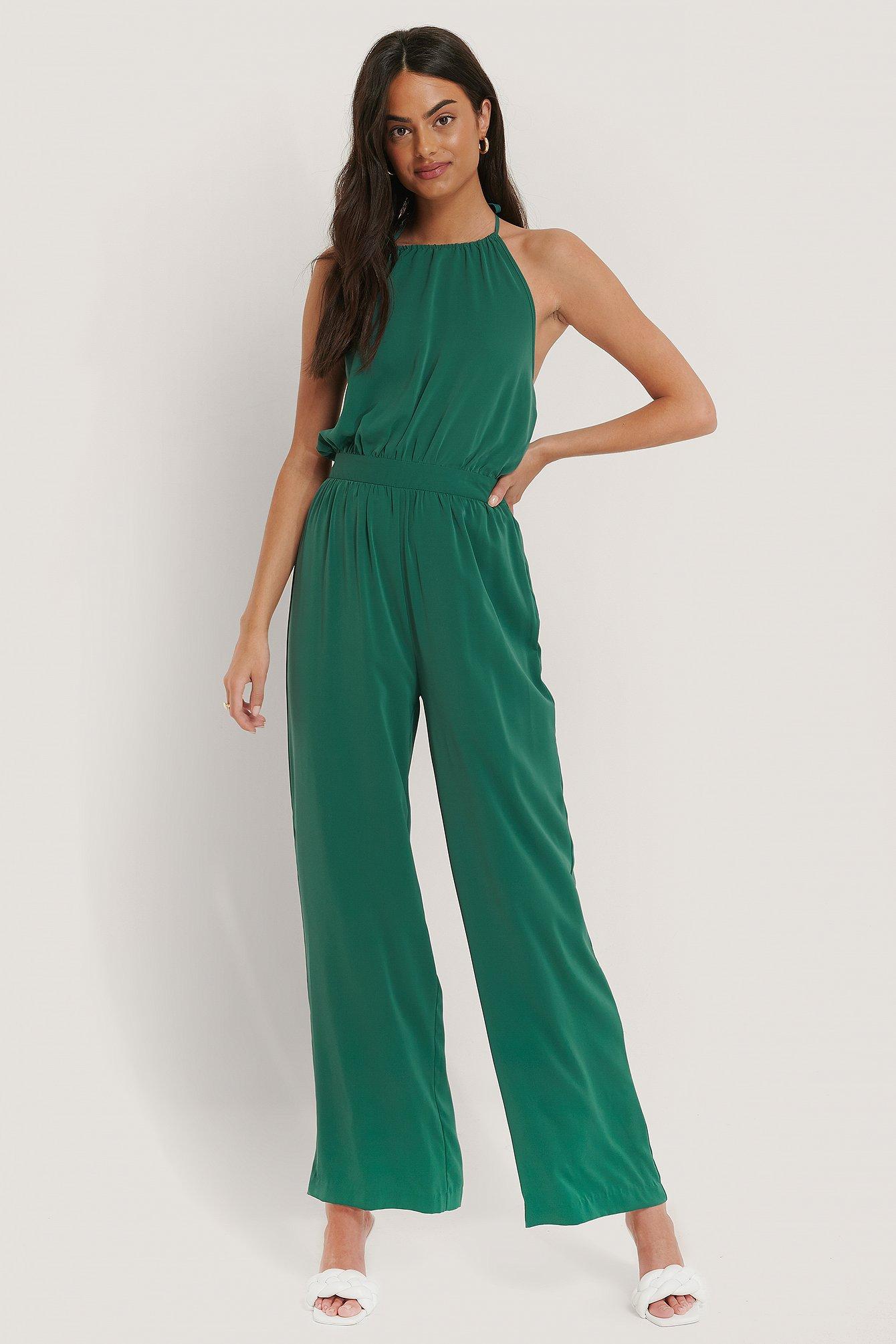 na-kd -  Neckholder-Jumpsuit - Turquoise
