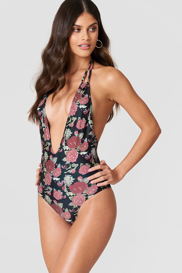 Halterneck Plunge Swimsuit Black/Flower Print