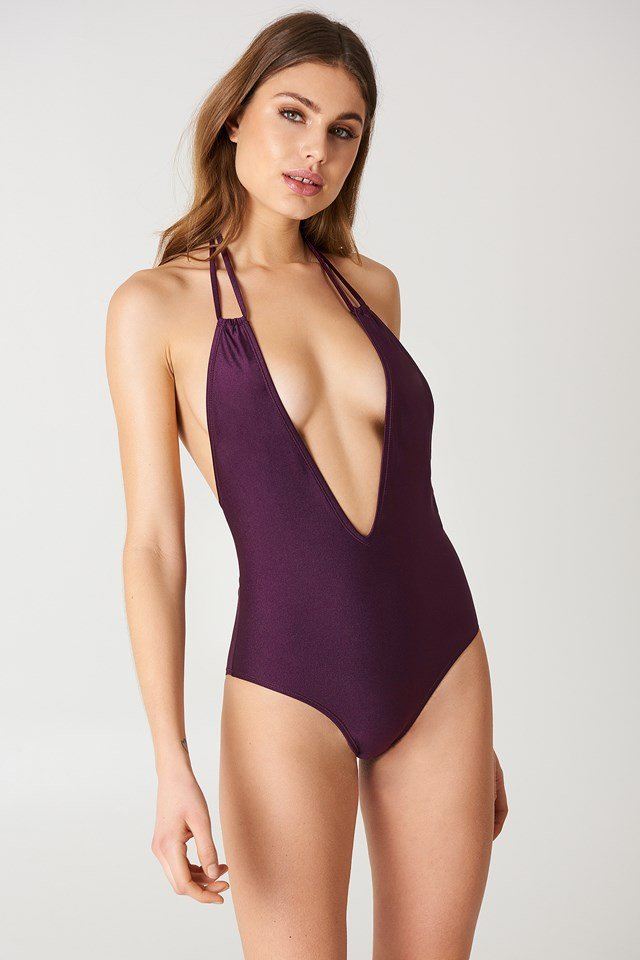 Halterneck Plunge Swimsuit Dark Purple