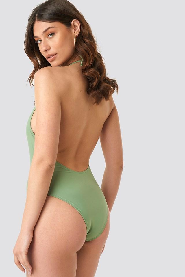 Halterneck Plunge Swimsuit Pale Khaki
