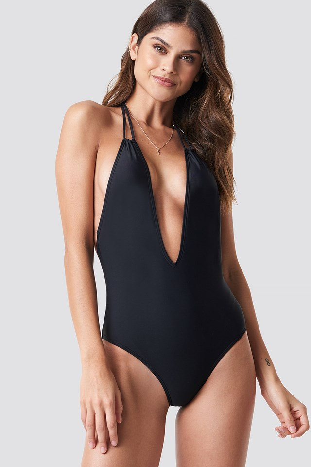 Halterneck Plunge Swimsuit Black