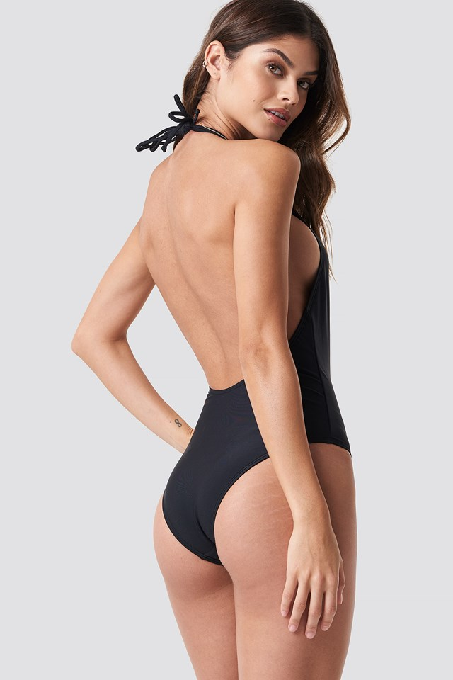 Halterneck Plunge Swimsuit Black