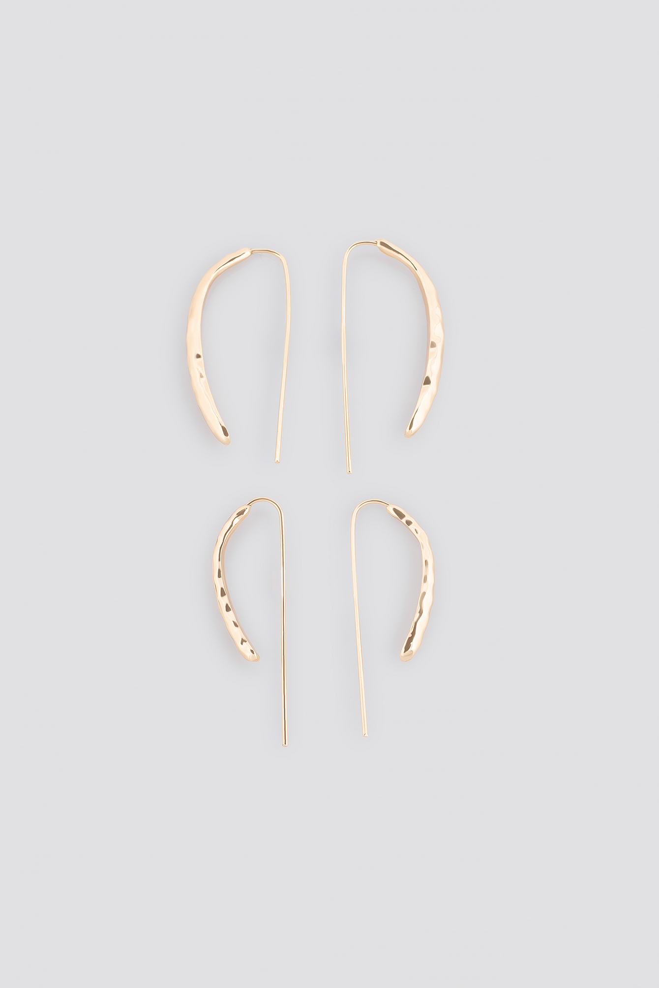 Hammered Front Bar Earring Set NA-KD.COM