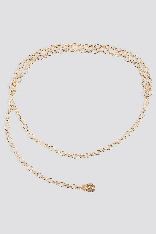 Hammered Pendant Chain Belt Gold