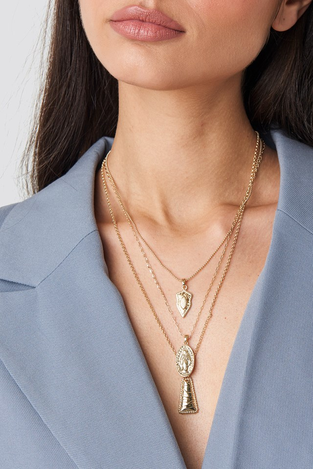 Hammered Pendants Layered Necklace Gold