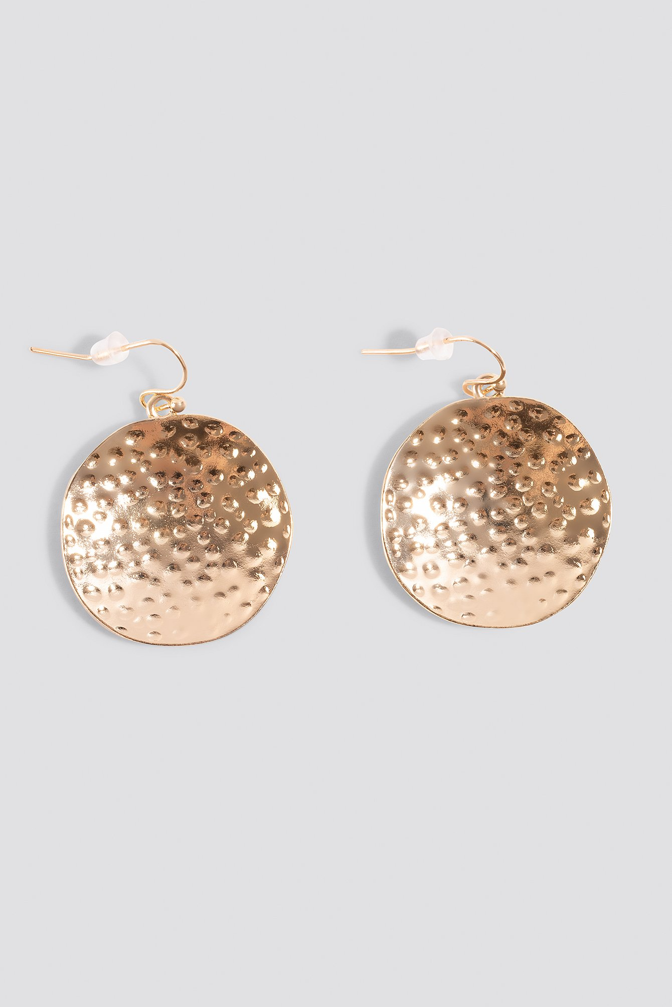 Gold Hammered Plate Earrings