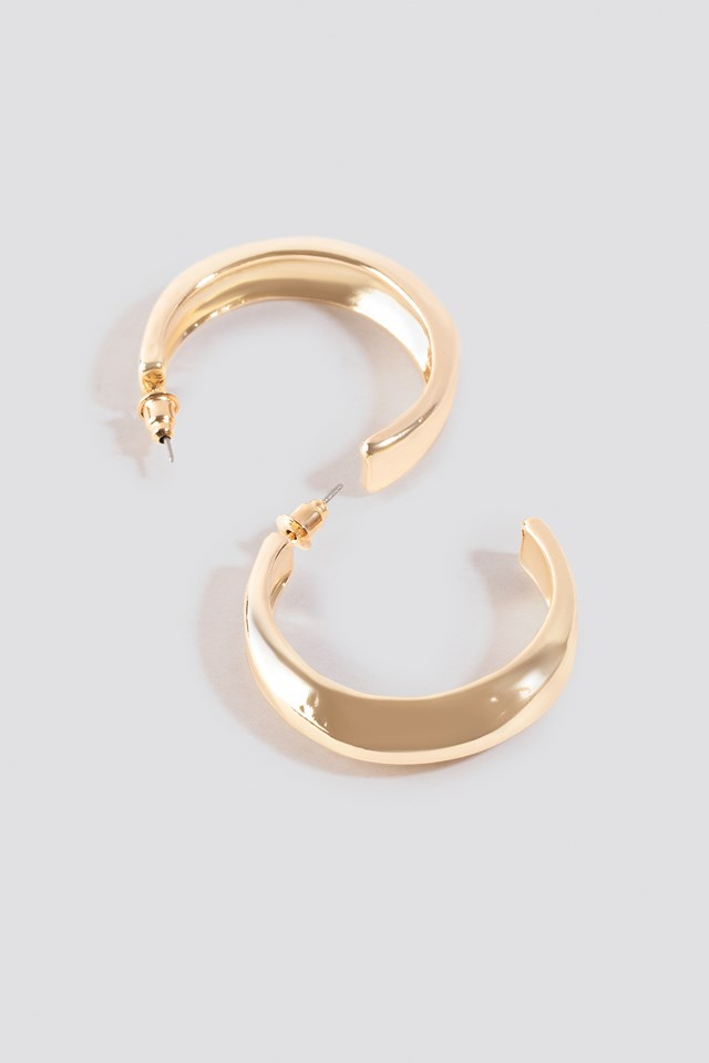 Hammered Uneven Chunky Hoops Gold