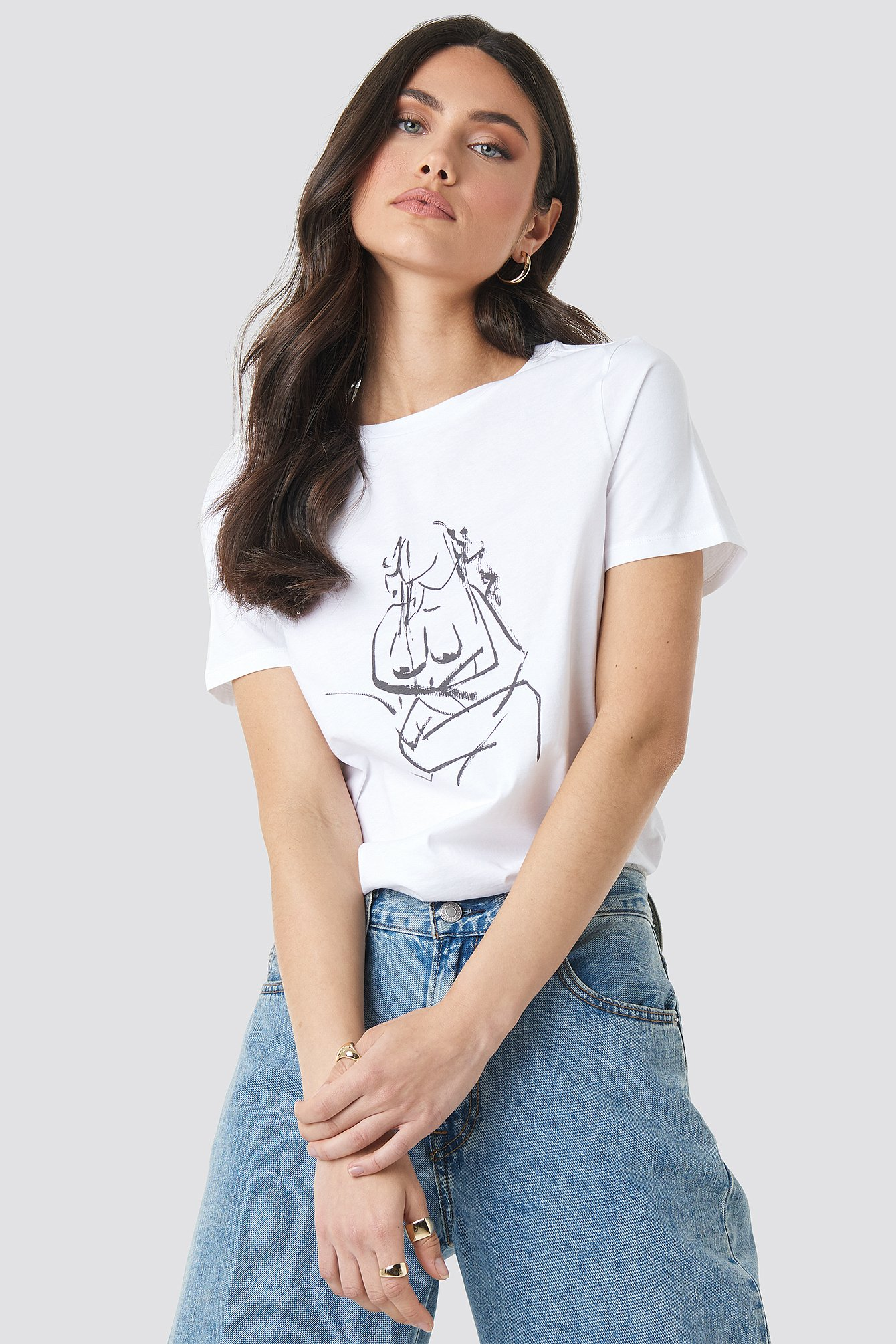 na-kd trend -  Hand Drawn T-shirt - White