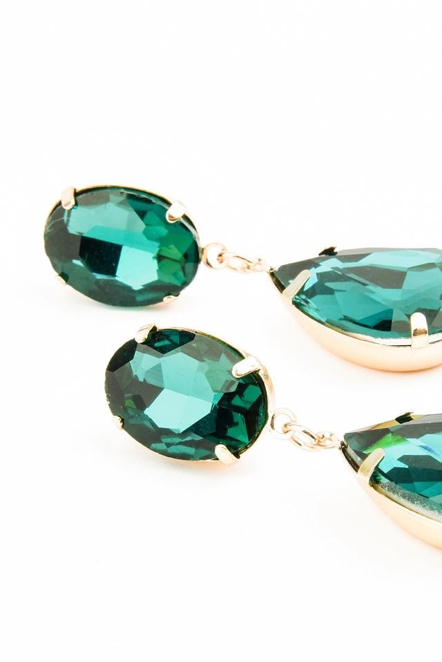 Hanging Colored Diamond Earring Green