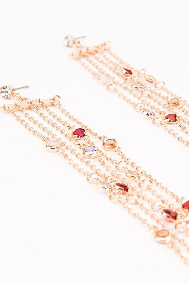 Hanging Colored Rhinestone Earrings Gold