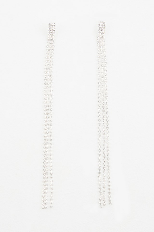 Hanging Rhinestone Earrings Silver