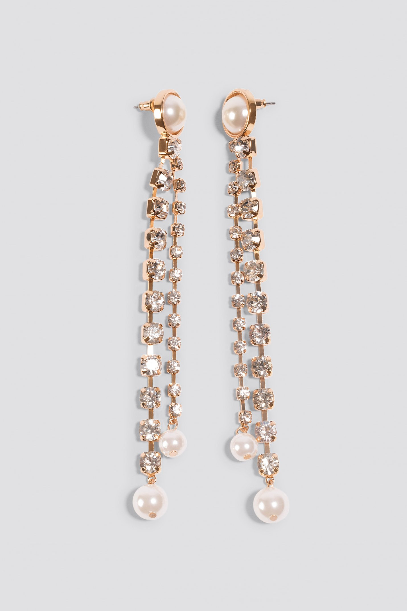 Gold Hanging Rhinestone Pearl Earrings